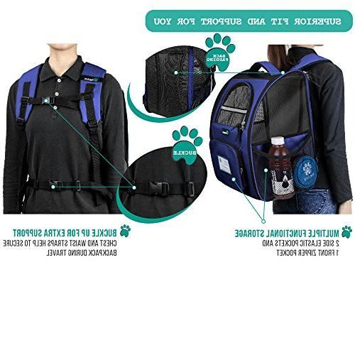 PetAmi Deluxe Backpack Ventilated Two-Sided Entry, Safety Features and Back for Travel,