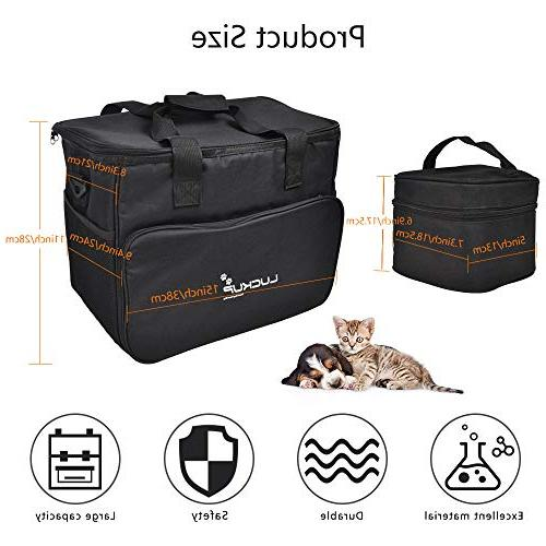 LUCKUP Organizer Travel Large Dogs, 2 Lined 1 Trash Bags Collapsible Bowls