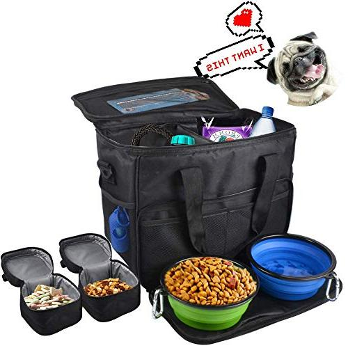 LUCKUP Dog Travel Organizer Bag Travel for Med and 2 Food 1 Pet Trash Bags and Collapsible Bowls