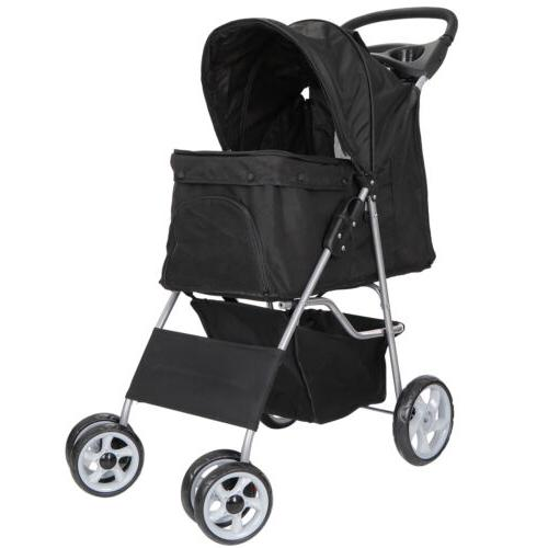 Dog Stroller Pet Travel Carriage 4 Wheeler with Foldable Car