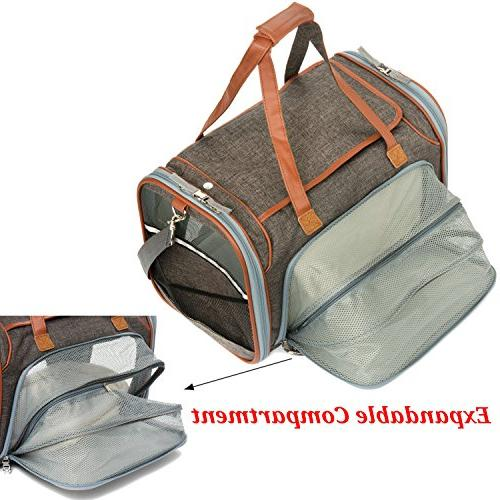 Expandable Airline Sided Pet Carrier Under Seat with Plush Fleece - Zippers & Metal Clasps Suitable & Small Dogs Sizing