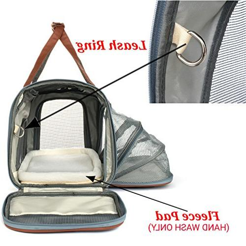 Expandable Sided Carrier - Under with Plush - Metal Clasps Suitable Cats Small Check Sizing