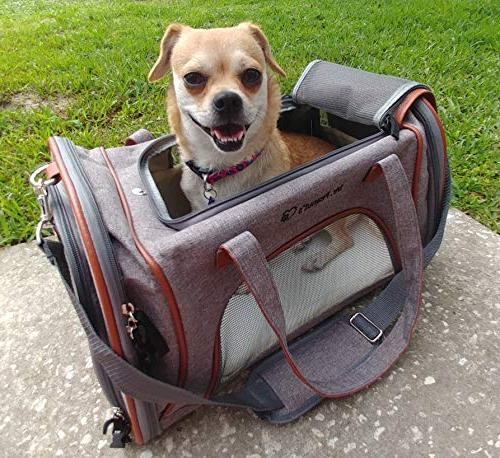 Expandable Airline Approved Soft Sided Pet Carrier Under Seat Travel Tote with Plush Fleece Pad - & Metal Suitable for Cats & Small - Check Sizing