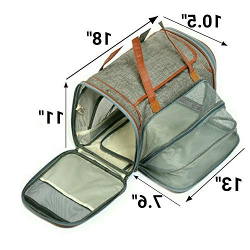 Expandable Approved Sided Pet Under Seat with Plush Fleece - Premium & Metal - Suitable for Cats & Small - Sizing