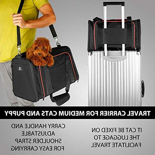 X-ZONE PET Expandable Dog with Fleece Mat, Most Pet Carrier for Easy Carry on Luggage, Soft Sided Flodable with Zip