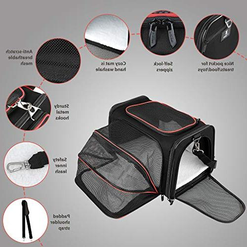 X-ZONE Expandable Travel Dog Carrier Mat, Airline Approved Pet Carrier Easy Carry Luggage, Soft Sided with Pockets to Store Goods