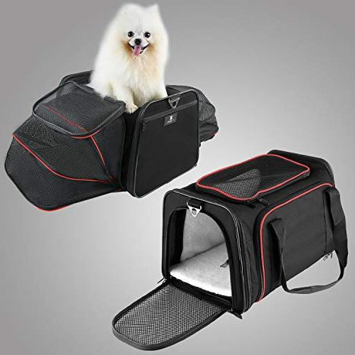 X-ZONE Dog with Mat, Pet Carry on Luggage, Soft Sided with Zip Pockets to
