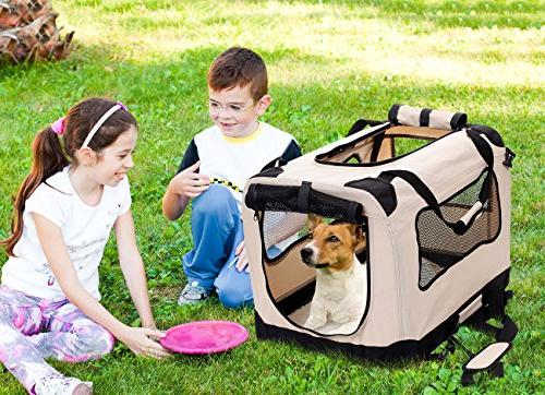 2PET - Fold Carry Crate for Outdoor Use Dog Home & Travel Strong Steel Fabric Cover, Frontal Zipper Beige