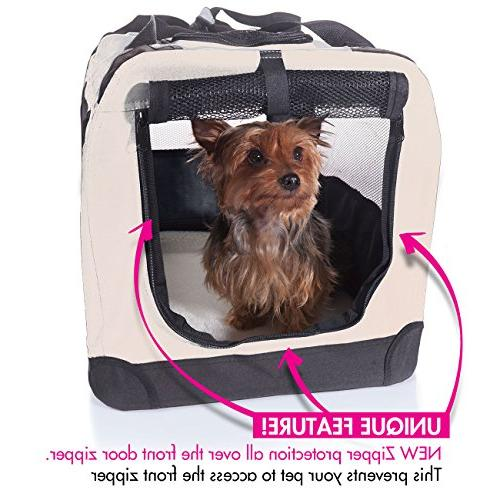 2PET - Easy to Fold Crate for Indoor Outdoor Dog & Dog Travel Steel Cover, Medium Beige
