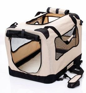 2PET Fold Carry Crate for Indoor & Outdoor Use Dog Home Travel Crate - Steel Frame, Washable Cover, Zipper Beige
