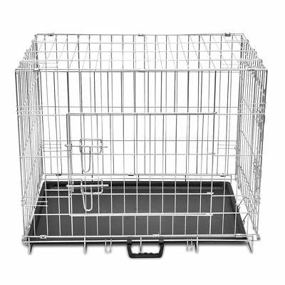 Foldable Dog Puppy Carrier Crate Pet Door Metal