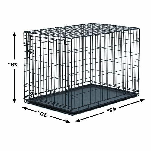 New World Metal Dog Leak-Proof Plastic Crate Measures 42L 30W x Fits Large Breeds