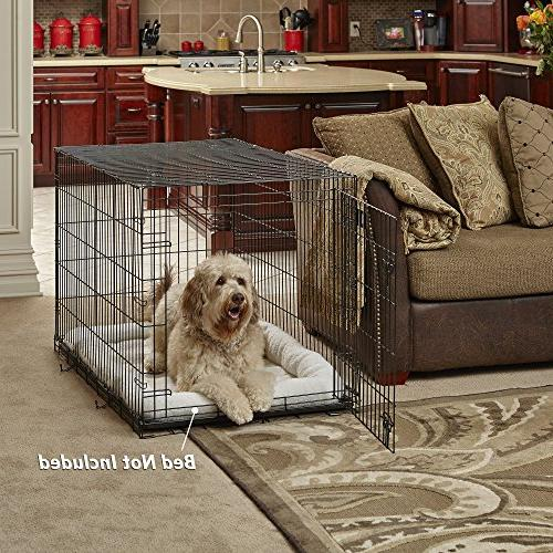 New World Folding Metal Crate, Includes Leak-Proof Dog Crate 42L 30W x Fits Large Dog