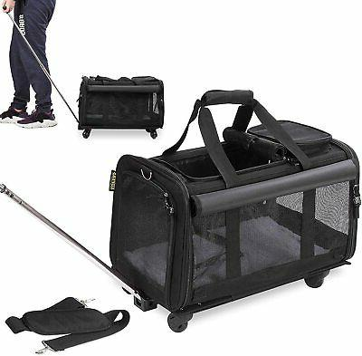 Pet Carrier with Detachable Wheels for Small Dogs & Cats - B