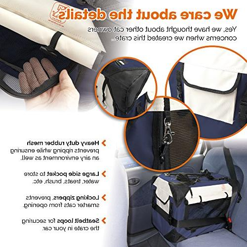 PetLuv Happy Cat Premium & Side Pet Carrier & - Carry Seat Belt Lock Anxiety