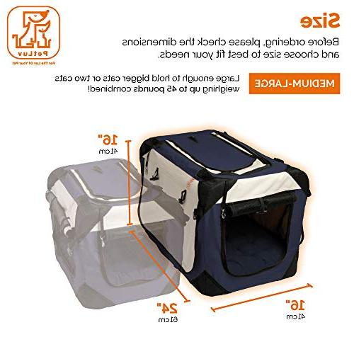 PetLuv Premium Soft Sided & Side Loading Pet Carrier Carry Lock Nap Anxiety