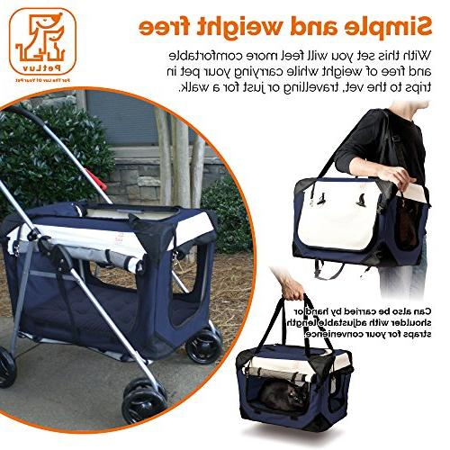 "PetLuv ""Happy 3-in-1 Pet Travel Crate, and Stroller - Locking Nap Airy Sunroof,"