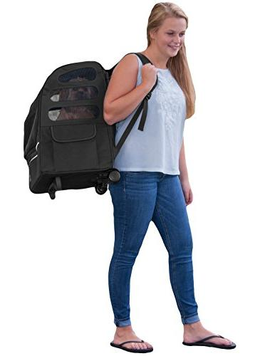 Pet Backpack, Travel Seat Ventilation, Included Telescoping Handle, Storage Pouch