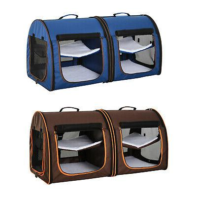 large travel double dog pet carrier kennel