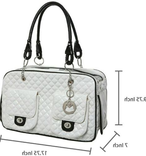 MyGift MG Colletion White Quilted Patent Leather Dog Cat Pet Carrier New