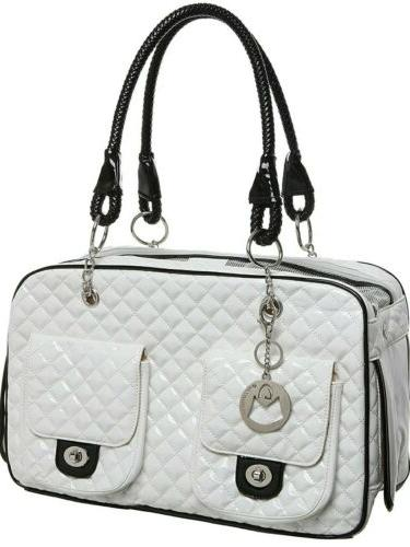 MyGift Quilted Patent Cat Pet Handbag New
