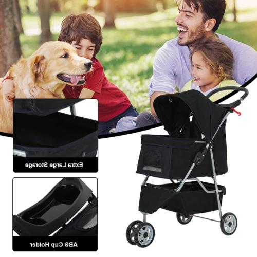 BestPet Cat Dog Cage Wheels Stroller Travel Folding Carrier