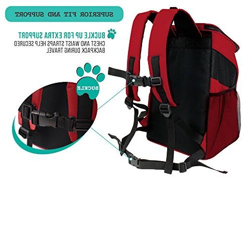 PetAmi Premium Pet Backpack and | Ventilated Design, Safety Strap, Support | Travel, Use