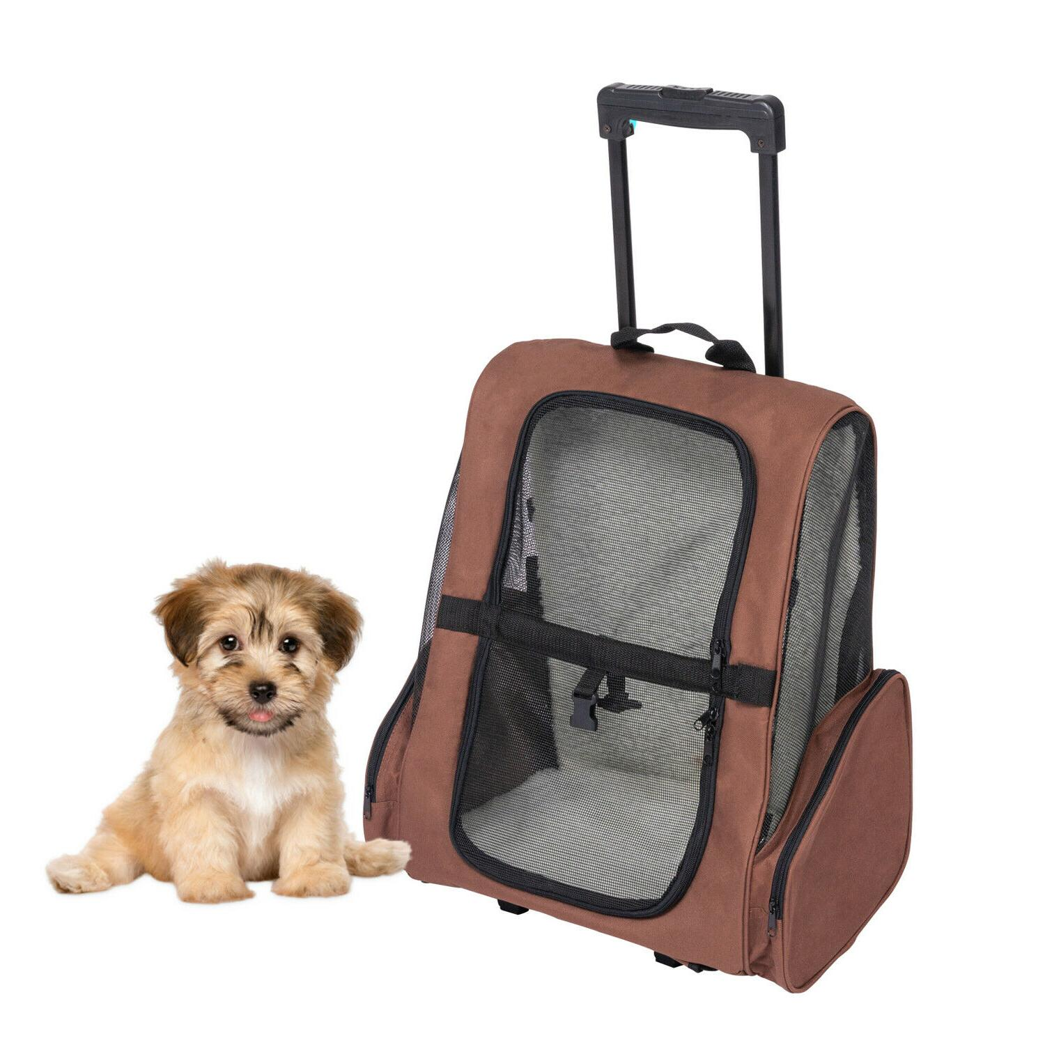 Pet Carrier Dog Cat Rolling Backpack Travel Airline Approved