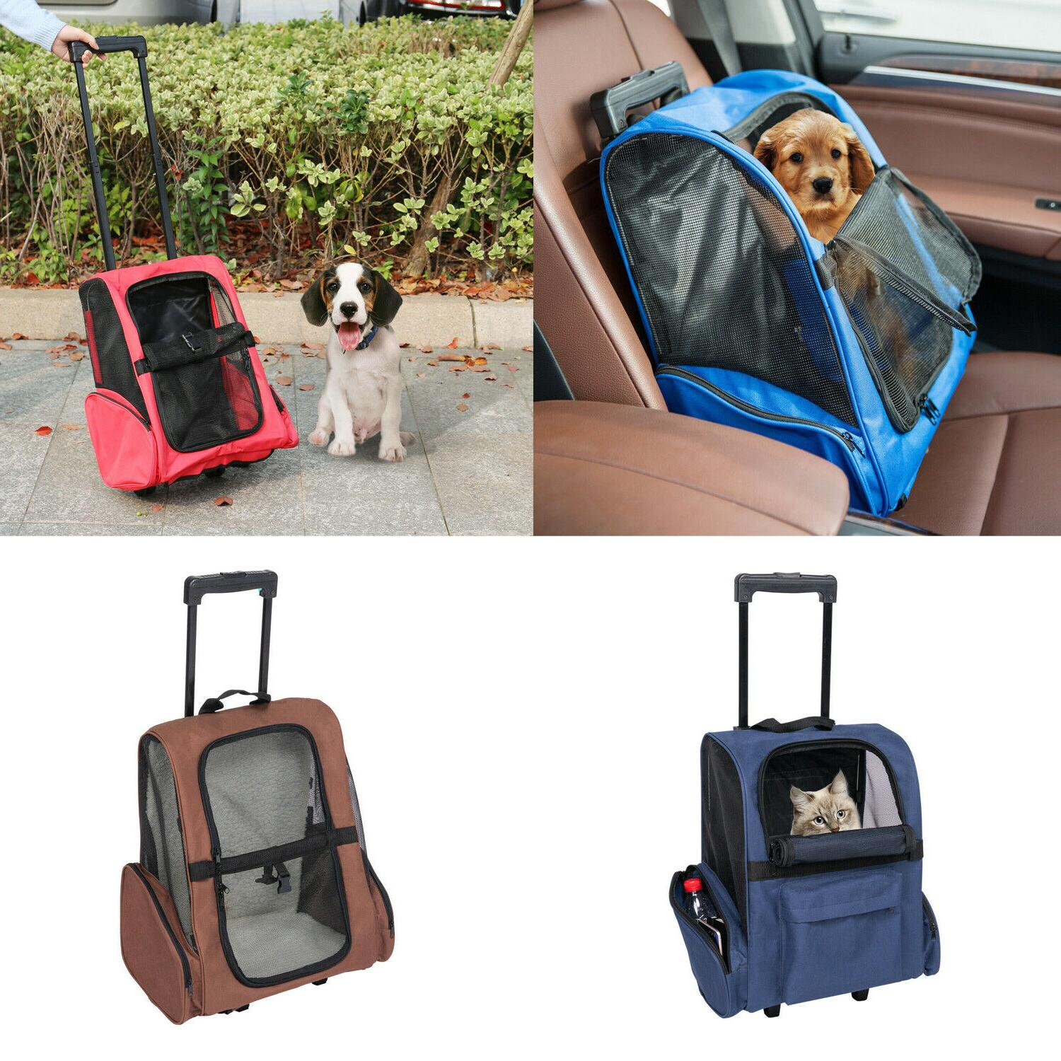 pet carrier dog cat rolling wheel luggage