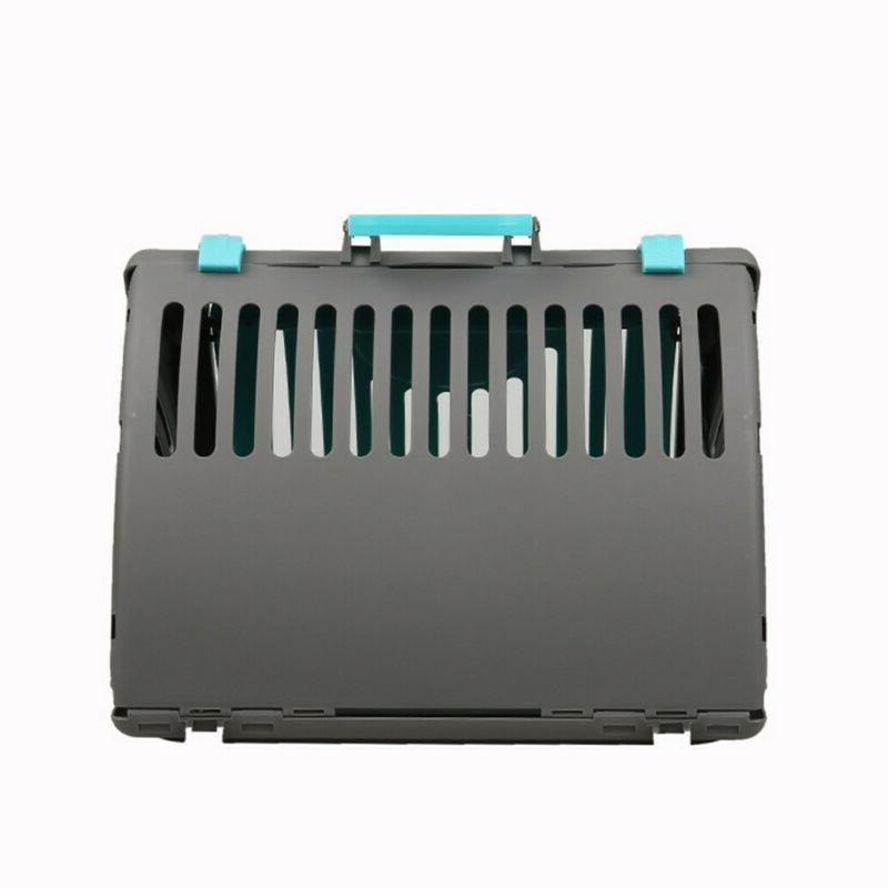 Pet Carrier Plastic Cat Dog Carrier Travel Folding Air Box Blue US