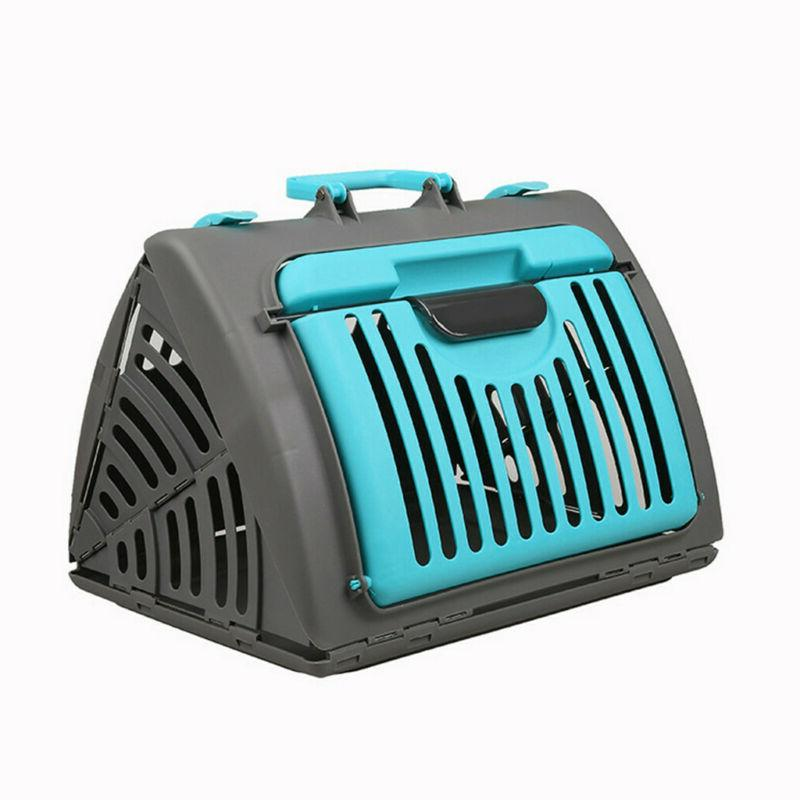 Pet Carrier Plastic Cat Dog Travel Blue US