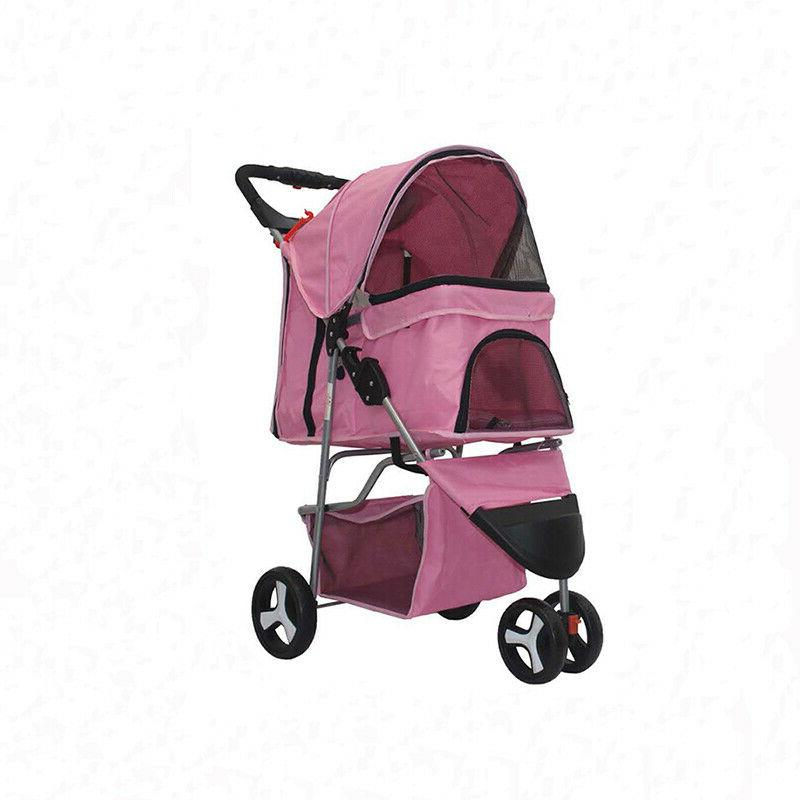 pink 3 wheels pet stroller cat dog