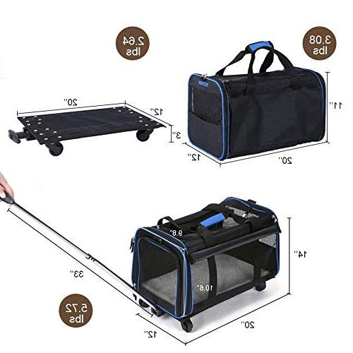 """YOUTHINK Rolling Carrier, Removable Travel Carrier Pets to 20 lbs, Extendable Fleece Bed, x 12""""x Black"""