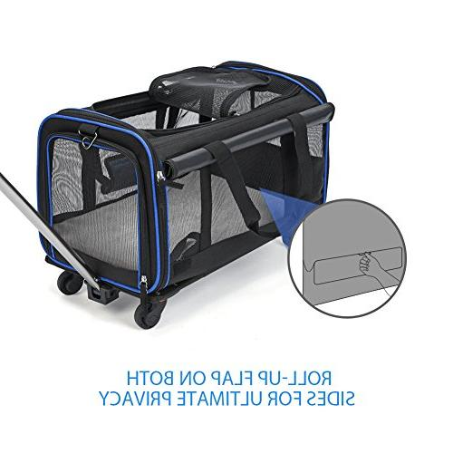 """YOUTHINK Wheels Rolling Carrier, Carrier for Pets up to Extendable & Detachable Fleece 12""""x 11"""","""