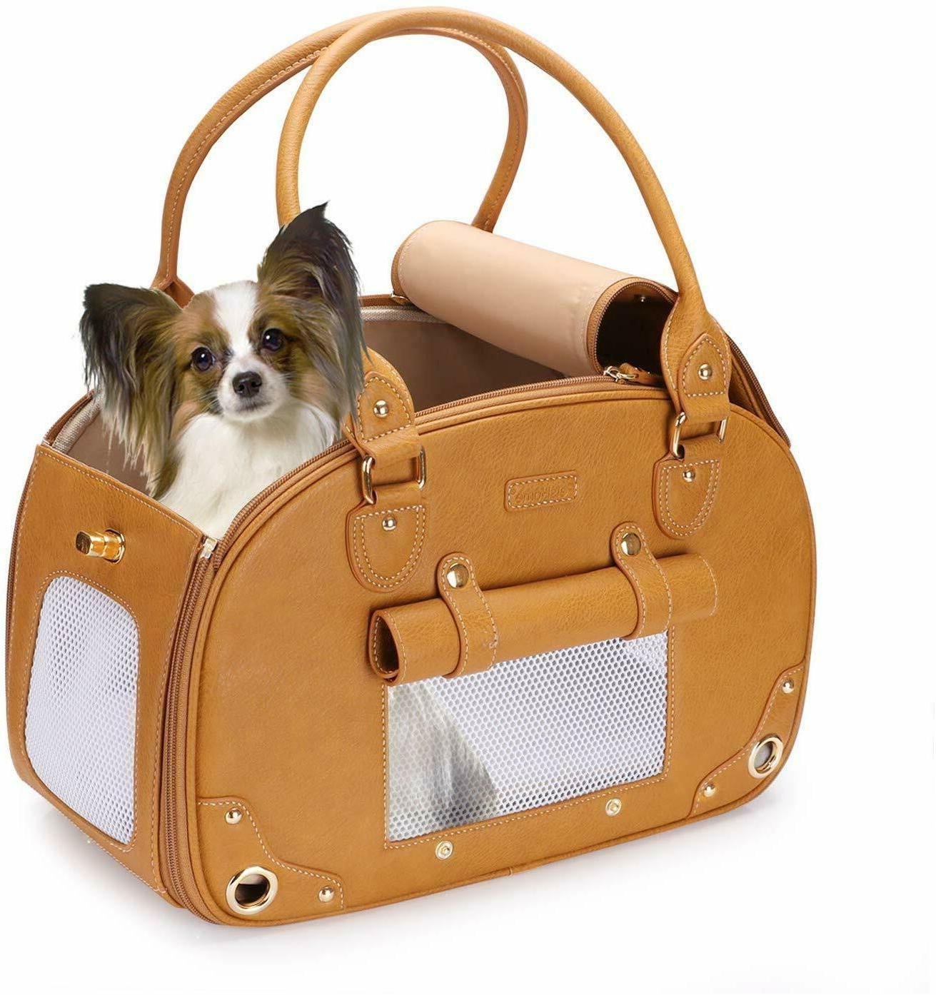 portable sm dog cat carrier purse pu