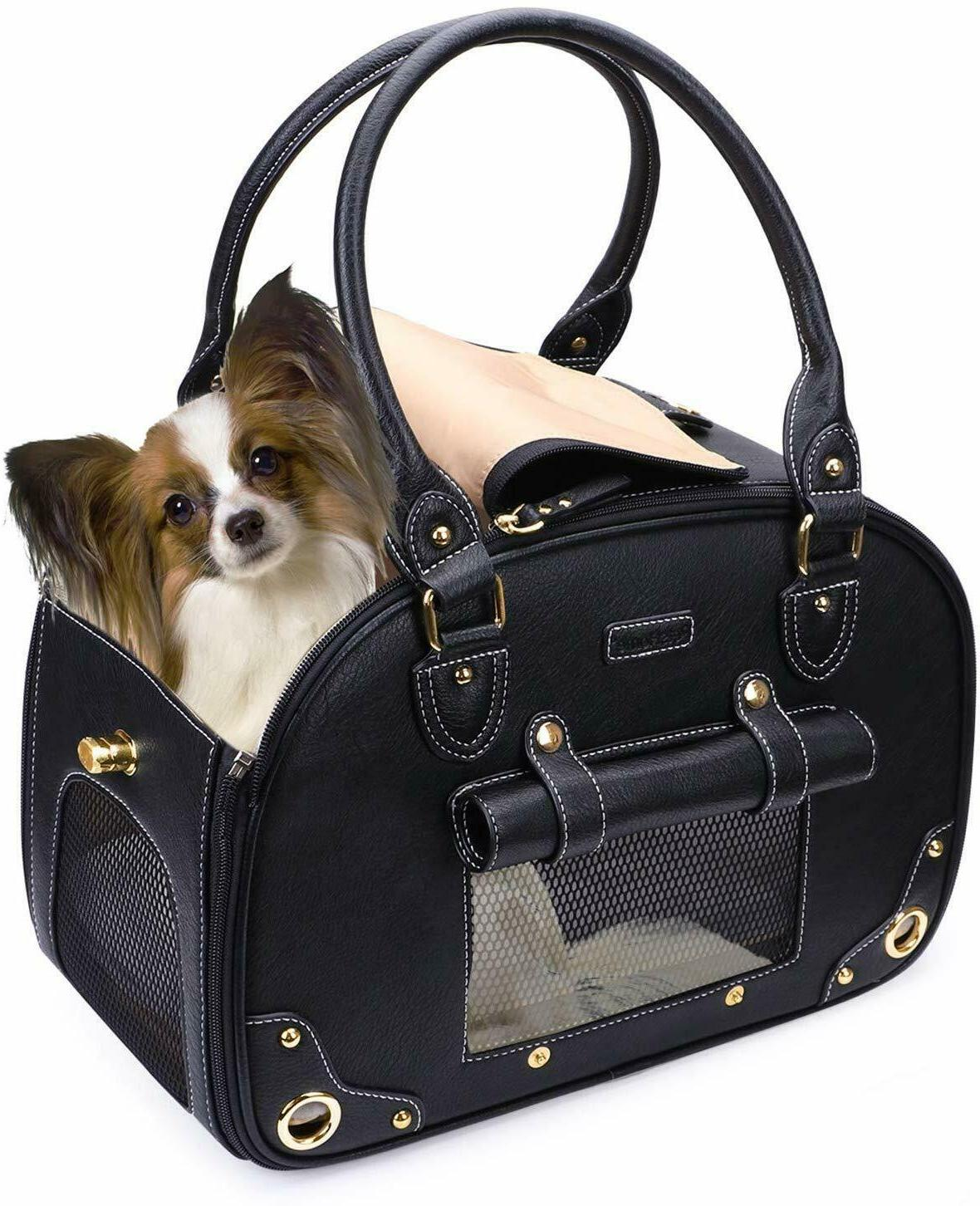 Portable SM Dog Cat Carrier Purse PU Leather Bag Tote Travel