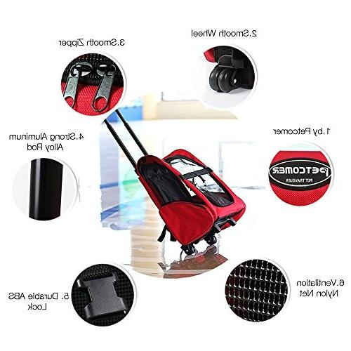 Pettom Roll Around Pet Carrier Travel Trolley Dogs and Cats Tote Airline Approved Red