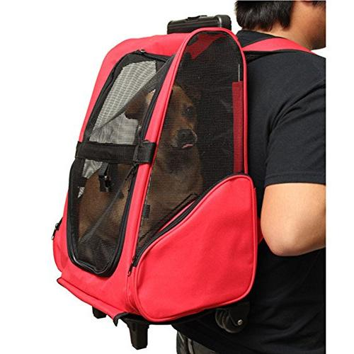 Pettom Roll Around Pet Backpack Trolley Dogs Cats Easy Tote Airline Approved Red