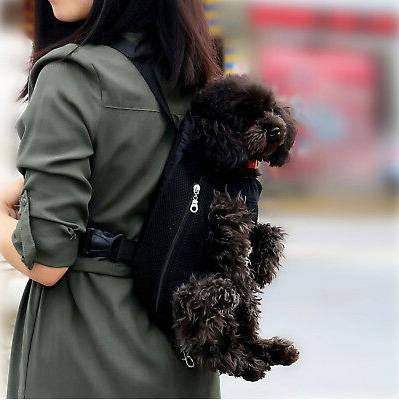 Small Pet Cat Dog Hiking Backpack Legs Out Black