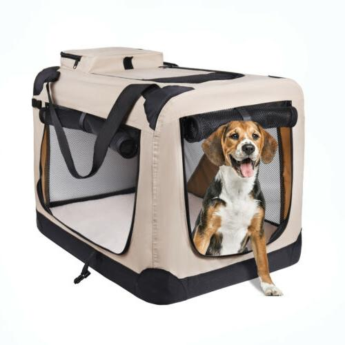 Dog Carrier Folding Dog Crate, Indoor & Outdoor Home,