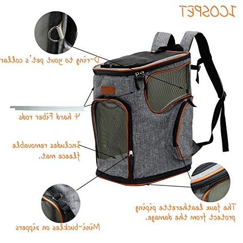 ICOSPET Soft-Sided Pet Backpack Dogs and Cats Airline-Approved, for Hiking, & Outdoor 17''T11''WD11''(Grey