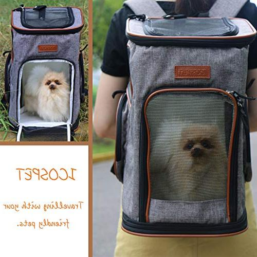 ICOSPET Soft-Sided Carrier Backpack Dogs and Airline-Approved, Designed for Travel, & Outdoor 17''T11''WD11''(Grey