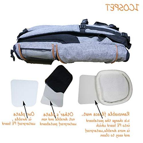 ICOSPET Soft-Sided Pet Backpack for and for Travel, Hiking, & Outdoor Use 17''T11''WD11''(Grey