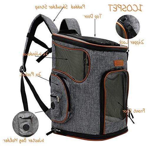 ICOSPET Soft-Sided Pet Backpack and Cats for & Outdoor 17''T11''WD11''(Grey