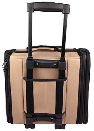 PET LIFE Wheeled Collapsible Breathable Airline Approved Travel Size, Brown