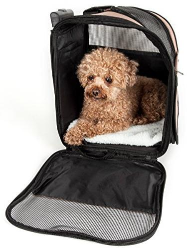 PET Wheeled Collapsible Breathable Approved Pet Dog Size, Brown