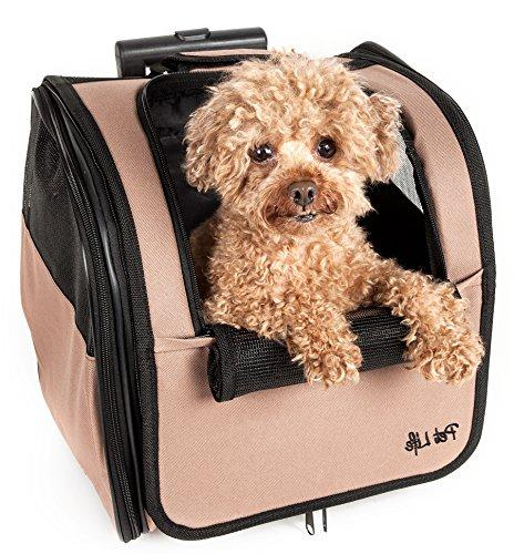 PET LIFE Wheeled Collapsible Breathable Approved Pet Dog Carrier,