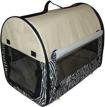 Zebra Dog Pet Kennel House Carrier Soft Crate w/ Carry Case