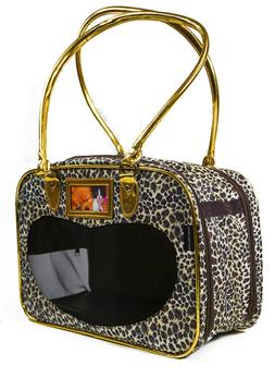 Leopard Print Pet Dog Cat Carrier Tote Purse Luggage Kennel