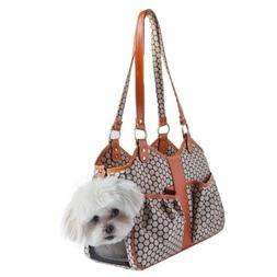 Petote Metro Couture Leather Trim Dog Carrier, Tangerine, Sm